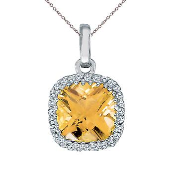 14K White Gold Citrine Cushion Pendant with Diamonds and 18