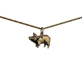 9ct Gold 20x13mm standing Pig Pendant with a spiga Chain 16 inches Only Suitable for Children