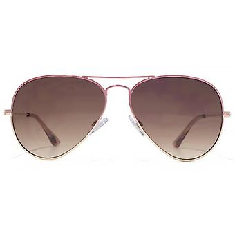 American Freshman Classic Metal Aviator Sunglasses In Pink To Gold Gradient