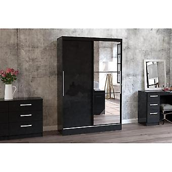 Birlea Lynx 2 Door Sliding Robe W/mirror Black