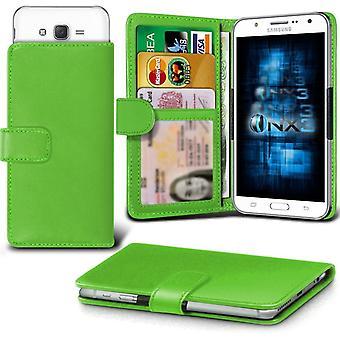 ONX3 Samsung Galaxy J1 / Galaxy J1 4G skóra Universal Spring zacisk etui portfel z uchwyt gniazdo karty i banknoty kieszeń zielony