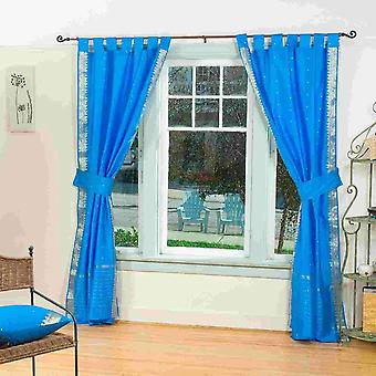 Indo Blue  Tab Top Sari Sheer Curtain (43 in. x 84 in.) with matching tieback