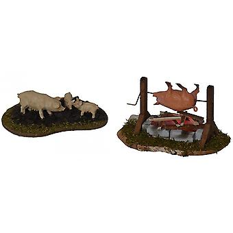 BBQ and pig enclosure for Nativity scene Christmas Nativity stable Nativity accessories