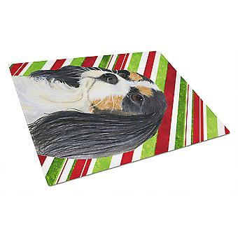 Cavalier Spaniel Candy Cane Holiday Christmas Glass Cutting Board Large
