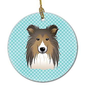 Carolines Treasures  BB1180CO1 Checkerboard Blue Sheltie Ceramic Ornament