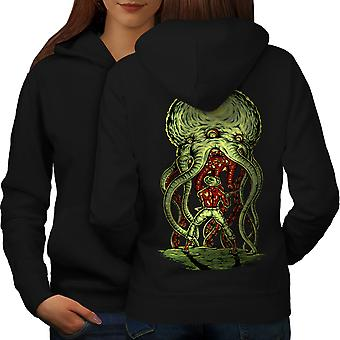 Octopus Horror Women BlackHoodie Back | Wellcoda