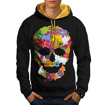 Flower Peace Death Skull Men Black (Gold Hood)Contrast Hoodie | Wellcoda