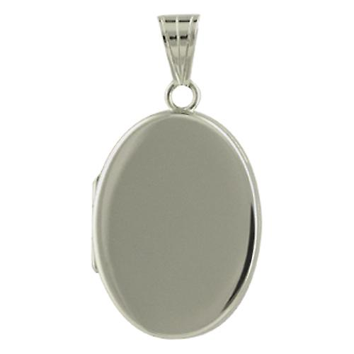 Silver 26x19mm plain flat oval Locket