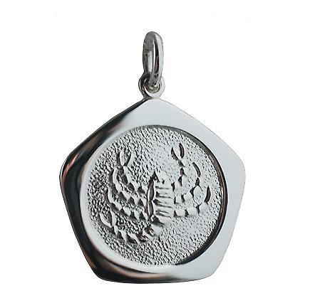 Silver 21mm five sided Scorpio Zodiac Pendant