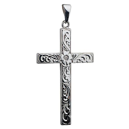 Silver 55x33mm victorian hand engraved solid block Cross with bail