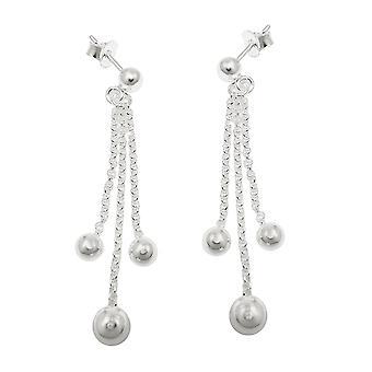 Earring 3 chains with balls silver 925