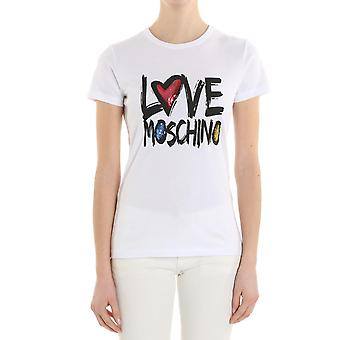 Love Moschino ladies W4F7331M3897A00 white cotton T-Shirt