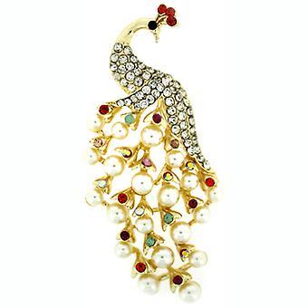Broscher Store mångfärgad Crystal & Pearl påfågel brosch