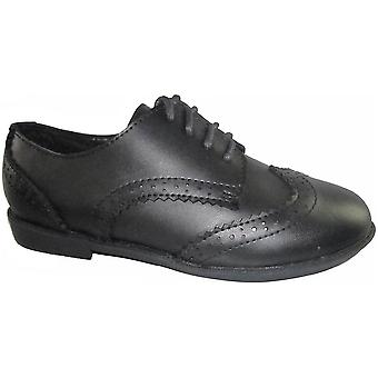 Mirak Girls Ally Lace Up Brogue Smart Leather School Shoe Black