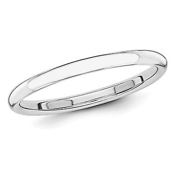 Ladies 14K White Gold 2mm Stackable Wedding Band