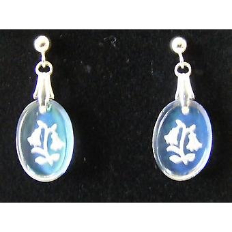 Ice Blue Oval Bluebell Crystal Earrings