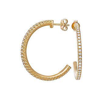 Esprit Damen Ohrringe Creolen Silber Gold Zirkonia Brilliance ESER92383B000