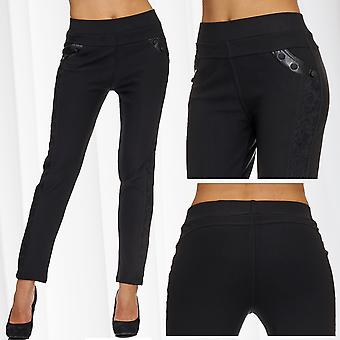 Ladies Treggings Fabric Trousers Stretch Pants Skinny Leggings Jeggings Tube Lace