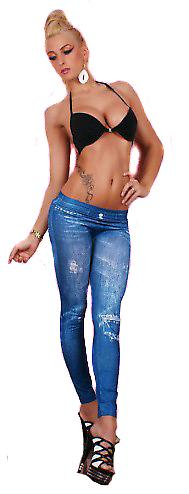 Waooh - Mode - Leggings long imprimé jean bleu clair