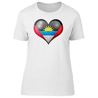 Antigua And Barbuda Heart Flag Tee Women's -Image by Shutterstock