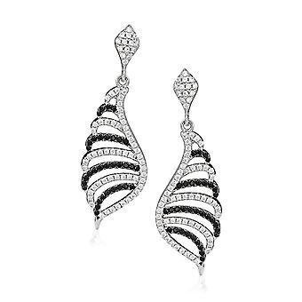 Orphelia argent 925 boucles d'oreilles noir & blanc Zirconium ZO-5227