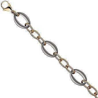 Bracelet stainless steel gold coated colors 21 cm carabiner bicolor