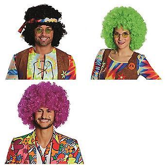 Afro peruk clown tillbehör Carnival Halloween lockigt hippie