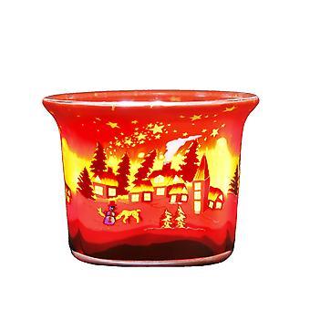 Kerzenfarm Tealight Glowing Glass, Winter Village