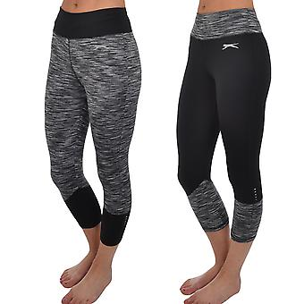 Slazenger Womens Running Gym Sports Leggings Bottoms Pants 3/4 Capri Tight