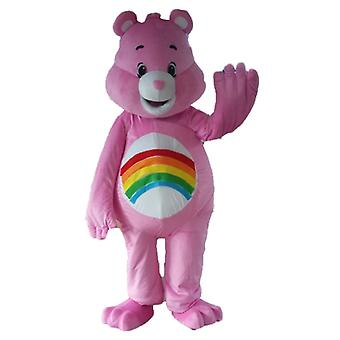 mascot SPOTSOUND of care bear pink, with a rainbow on the stomach