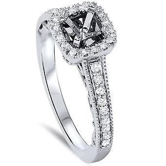 1 / 10ct Vintage Halo fidanzamento diamante impostazione platino 950