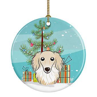 Weihnachtsbaum und Langhaar Dackel Creme Keramik Schmuck