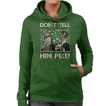 Dads Army Dont Tell Him Pike Christmas Knit Pattern Women's Hooded Sweatshirt