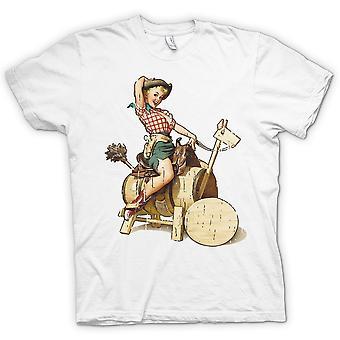 Jahrgang Cow Girl Pin Up - Retro Damen T Shirt