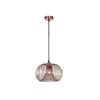 Lucide Vinti Vintage Round Metal Copper And Black Pendant Light