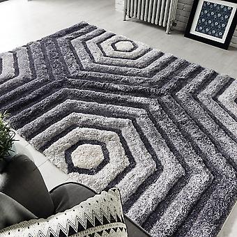 Punto hexagonal alfombras en gris