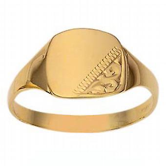 9ct Gold 11x11mm gents engraved TV shaped Signet Ring  Size W