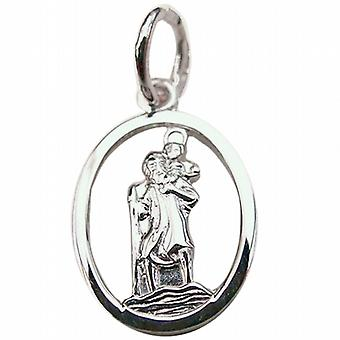 Sterling Silver Pendant St Christopher oval pierced