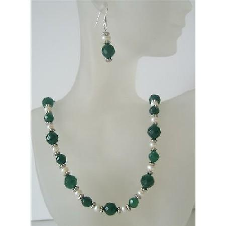 Multifaceted Jade Glass Bead Potato Freshwater Pearl Handcrafted Necklace Set Custom Genuine Bead Jewelry Set Earrings