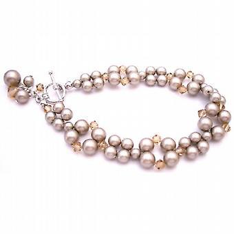 Classy Stylish Bracelet Artisan Creation Platinium Champagne Pearls