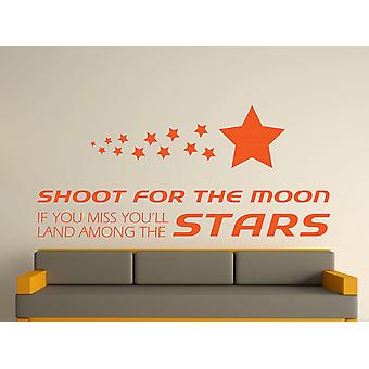 Shoot For The Moon Wall Art Sticker - Orange