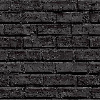 Arthouse VIP Brick Wall Effect Black Classic Wallpaper