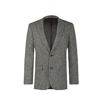 Harris Tweed Mens Grey Suit Jacket Regular Fit 100% Wool Herringbone