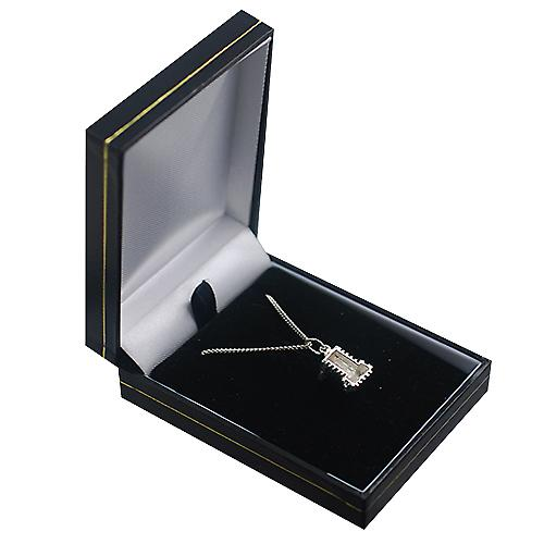 Silver 10x13mm hollow Westminster Abbey Pendant with a curb Chain 20 inches
