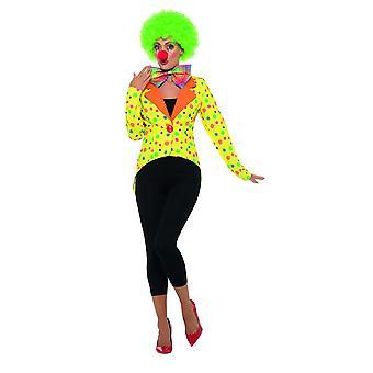 Payaso de las señoras coloridas colas de carnaval de chaqueta de chaqueta circo colorido payaso frac