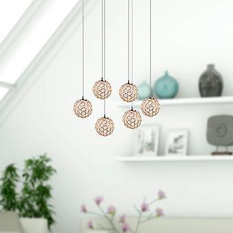 Vintage plafondlamp 6 leidde Pendant Lamp Restaurant licht huis decor ovaal luifel