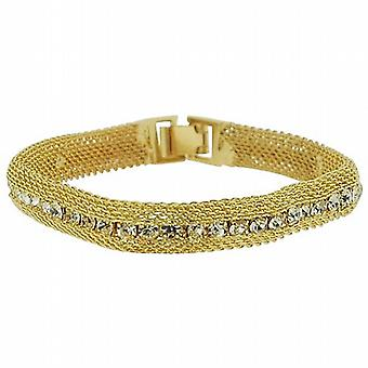 Park Lane Ladies Goldtone Mesh Style Glass Set Bracelet