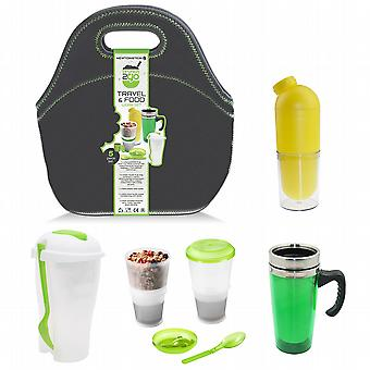 Brunch2Go - 5 Pcs Travel and Work Food Set with a Multi-Compartment Salad/Lunch Container Cereal/Muesli Container with Cooling Pack Water Bottle Hot Drinks Mug and Insulated Bag - for Lunch Breakfast and Afternoon Snack