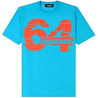 DSQUARED2 64 T-shirt stampa blu chiaro