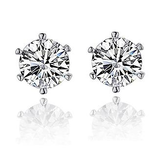18K White-Gold plated Round Stud Earrings